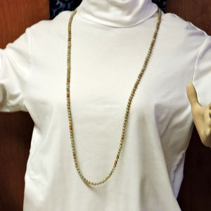 Neutral Color Long Necklace over 40 inches long